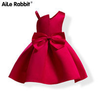 AiLe Rabbit 2018 New Girl Dresses Fashion Off Shoulder Design Princess Dress Party Wedding Apparel Children's Clothing Bow Red