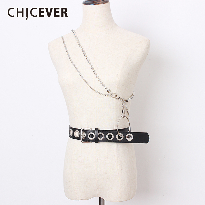 CHICEVER Vintage Dresses Accessories Chain Patchwork PU Leather Belts Female Fashion New Belt For Women 2019 Summer Korean