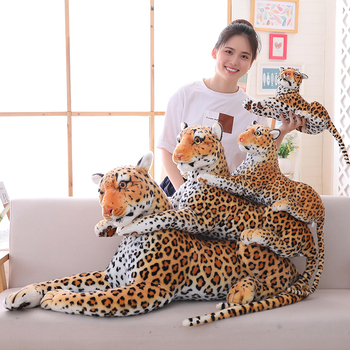 цена на High Quality Large Panther Leopard Plush Toys Giant White Tiger Black Panther Soft Stuffed Animal Pillow Animal Doll Kids Toys