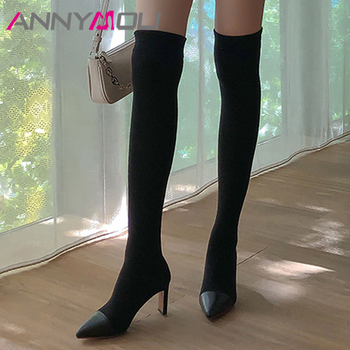 ANNYMOLI Real Leather High Heel Boots Female Over The Knee Boots Women Shoes Pointed Toe Chunky Heels Long Boots Ladies Gray 42 annymoli knee high boots high heel woman boots chunky heel round toe long boots zipper female shoes autumn winter beige size 46