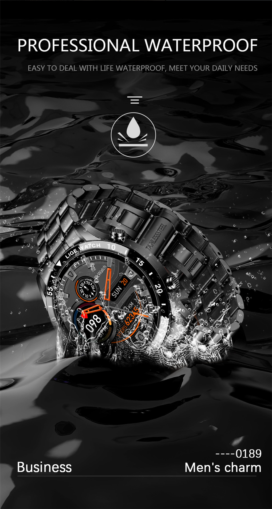 H7b8765c4f06c4f3daa1b3f473c369ab7U LIGE 2020 New Smart Watch Men Full Touch Screen Sports Fitness Watch IP67 Waterproof Bluetooth For Android ios smartwatch Mens