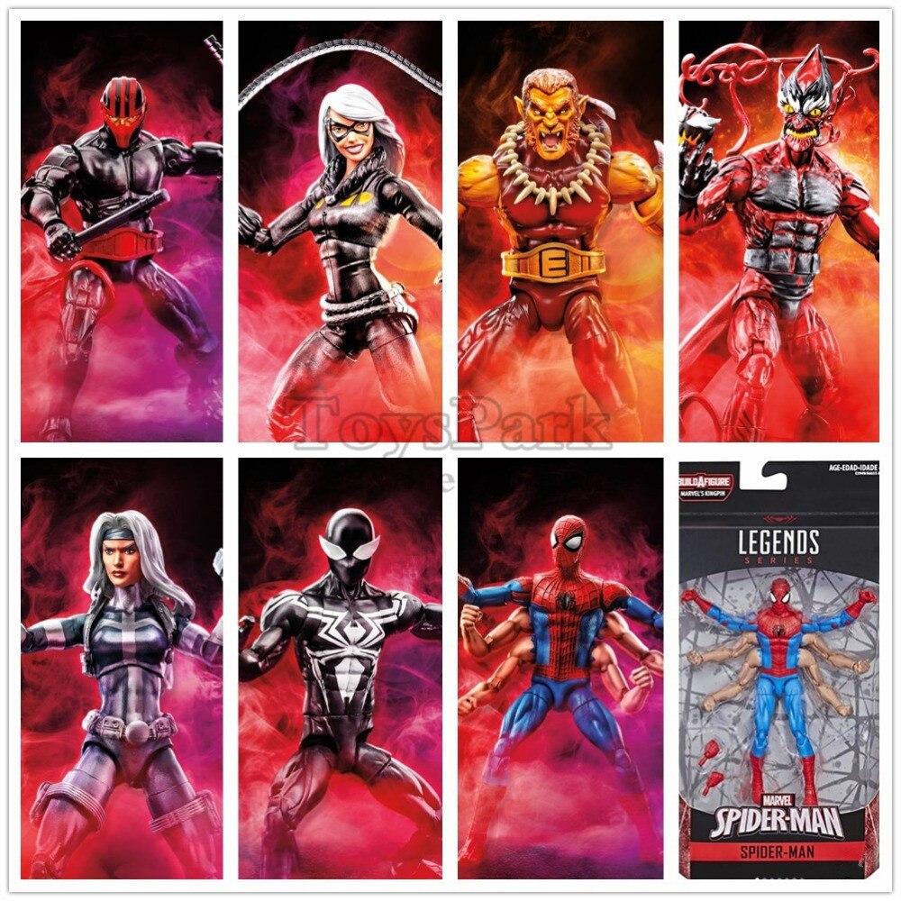 Marvel Legends Six Arm Spider Man Symbiote Black Cat Silver Sable Night Thrasher Puma Goblin 6