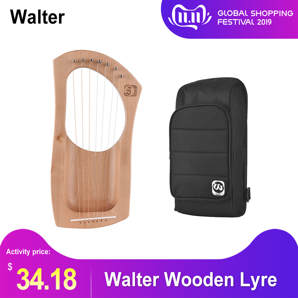 Walter.t 7-String Wooden Lyre Harp Metal Strings Birch Solid Wood String Instrument With Carry Bag WH06
