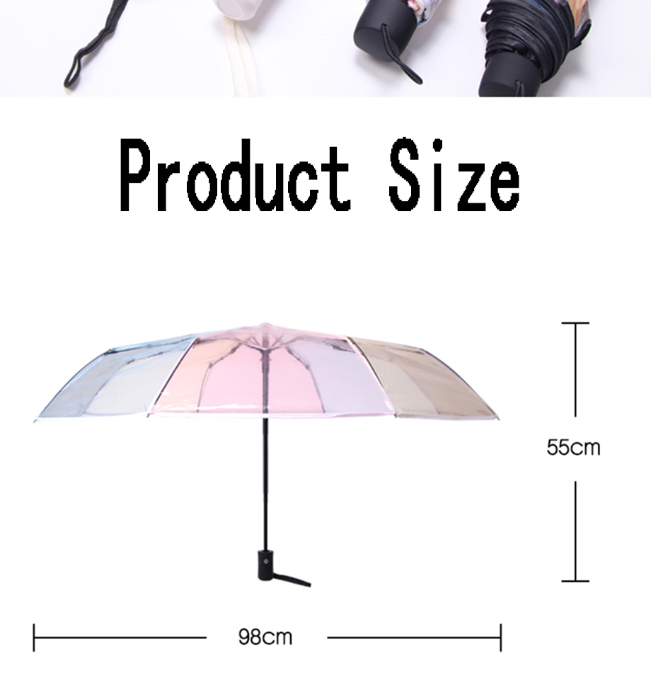 Cute Little Rainbow Pony fashion print cute Windproof automatic tri-fold umbrella sun UV protection Sun umbrella