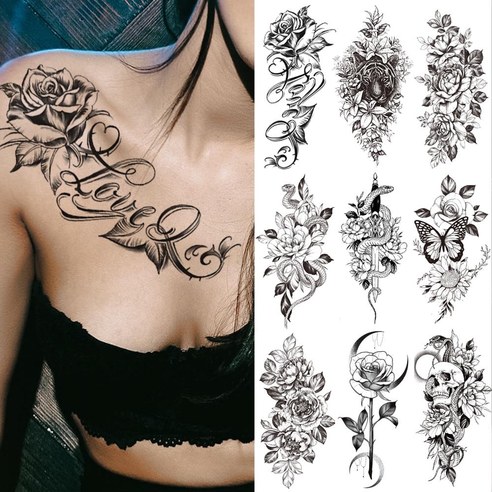 Wasserdicht Temporäre Tätowierung Aufkleber ICH Liebe Sie Flash Tattoos Lip Print Schmetterling Blumen Körper Kunst Arm Gefälschte Hülse Tatoo Frauen