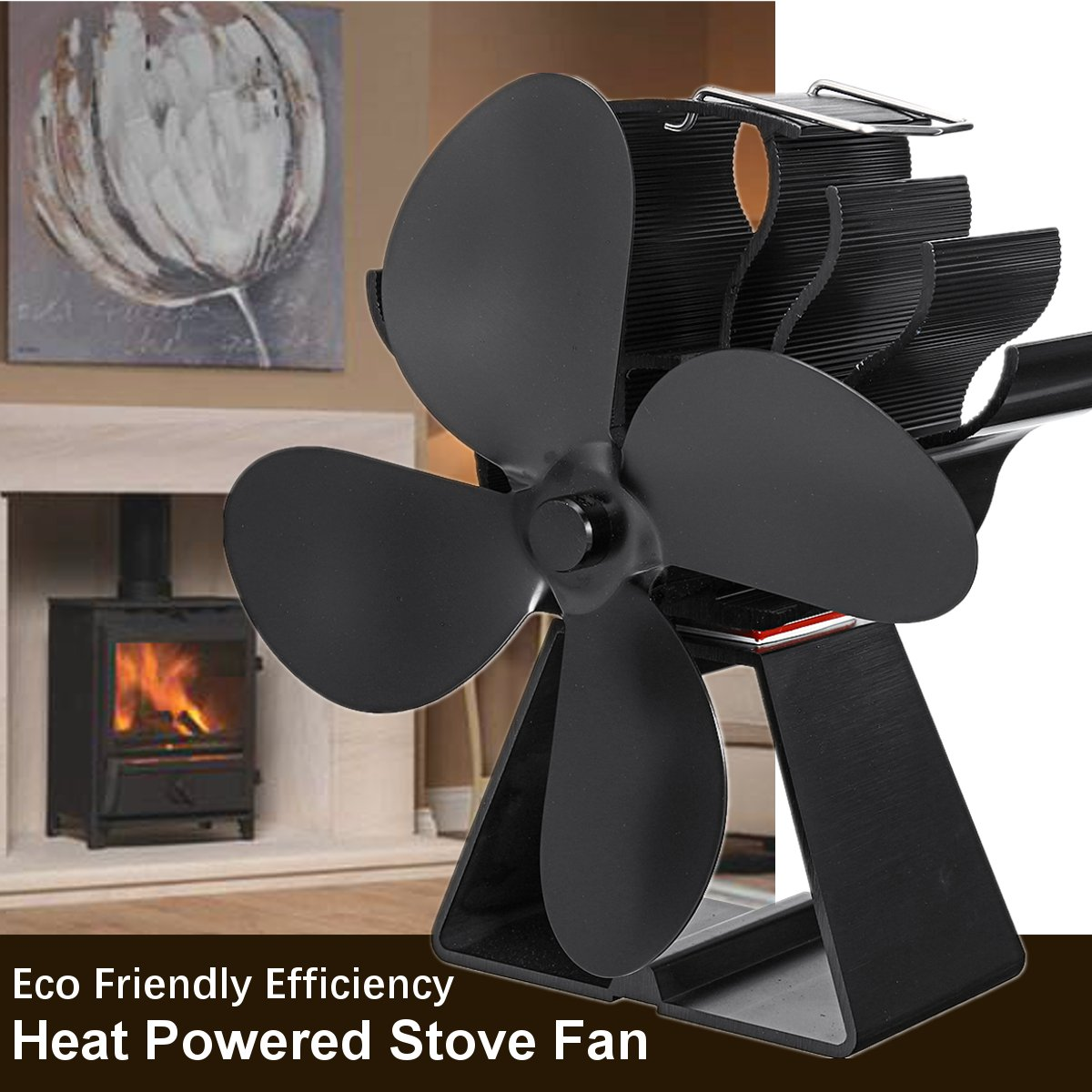 Black 4 Blades Heat Powered Stove Fan Eco Friendly Efficiency Wood Log Burner Fireplace Fan Parts Heat Distribution Fuel Saving