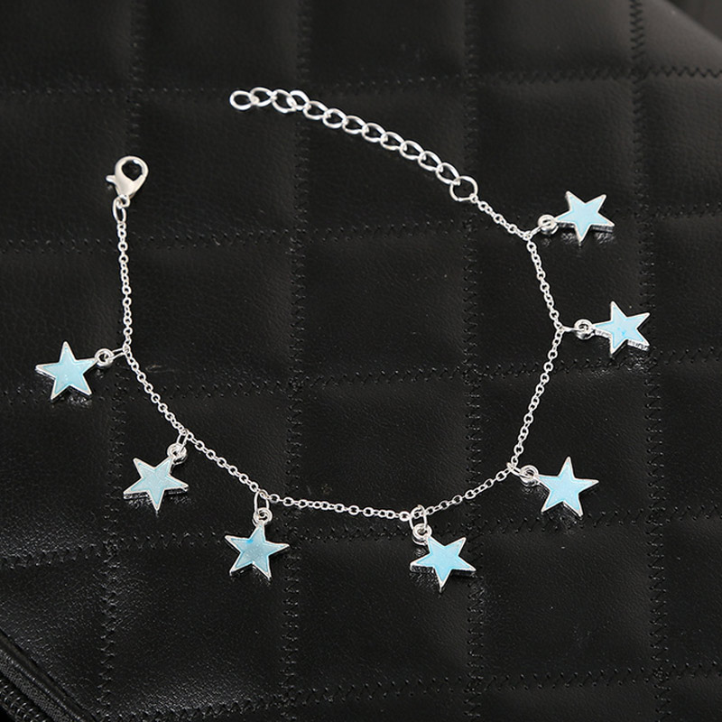 Summer Luminous Ankle Heart Star Pendant Bracelet Sandal Sexy Beach Leg Chain Women Anklets Jewelry SER88