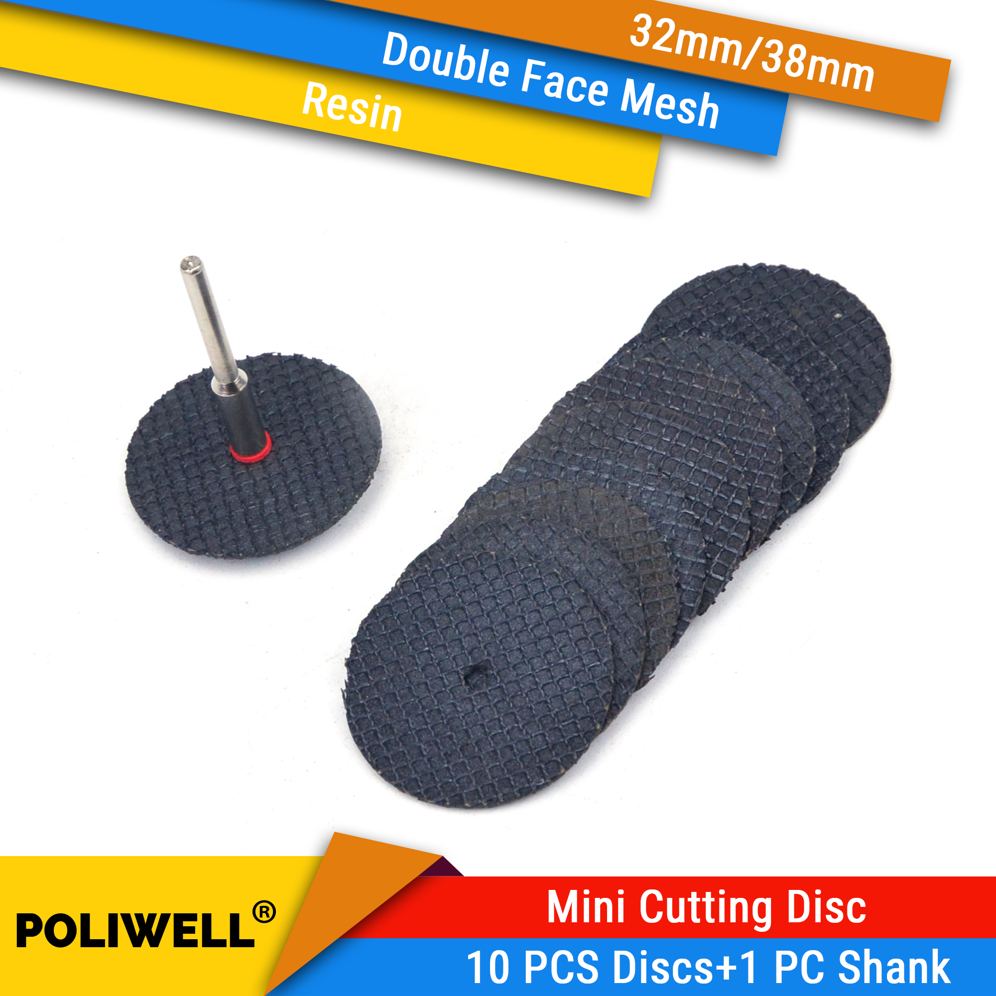 10Pcs Double-Face Mesh Cutting Disc + 1Pc 3mm Shank Resin Mini Circular Saw Blade For Soft Metal Wood Cutting Fits Dremel Tools