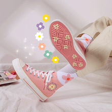 High-top girl students obsessed with green canvas shoes Kore