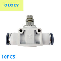 10PCS PSA Straight speed controller OD:4 6 8 10 12mm Throttle valve pneumatic connector push tube accessories