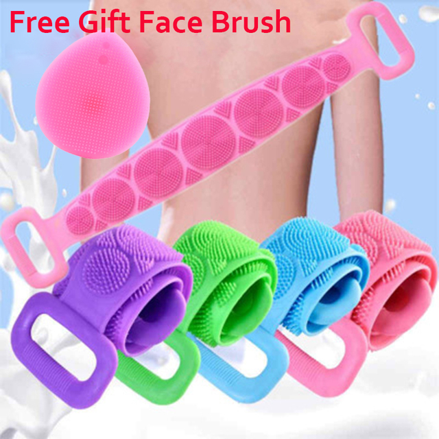 Silicone Back Scrub Deep Cleaning Bath Shower Silicone Body Brush Bath Belt Exfoliating Back Brush Belt for Body Skin Care Clean