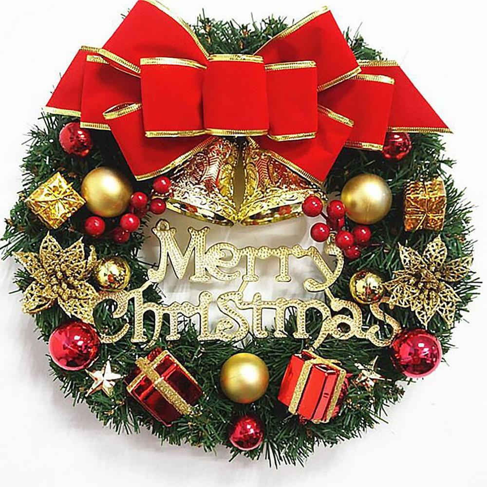 Christmas Wreath Window Front Door Decoration Ornaments Bell Artificial Wreath Christmas Decorations For Home