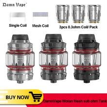 Оригинальный бак DamnVape Wotan Mesh sub 5 мл, сетчатый одинарный 0,3 Ом, испаритель с двойным слотом и верхним заполнением, бак для электронной сигареты VS Wotofo