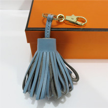 Genuine Leather Sheepskin Candy Color Tassel Bag Accessories Fashion Pendant Ornament Parts Fringe Keychain