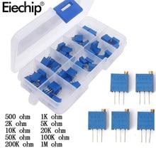 50 pz/lotto 3296W serie 500R 1K 2K 5K 10K 20K 50K 100K 200K 1M multi-turn potenziometro 10K resistori Variabili Con box set