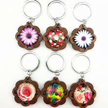 Jiangzimei 24pcs 2020 New Design Chrysanthemum, Daisy, rose Keyring flower Wood base with glass Cabochon Keychain