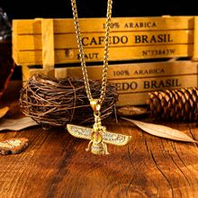 Fashion Zoroastrianism Wing Necklace Pendant for Men Stainless Steel Chain Ahura Mazda Zoroastrian Farvahar Male Jewelry