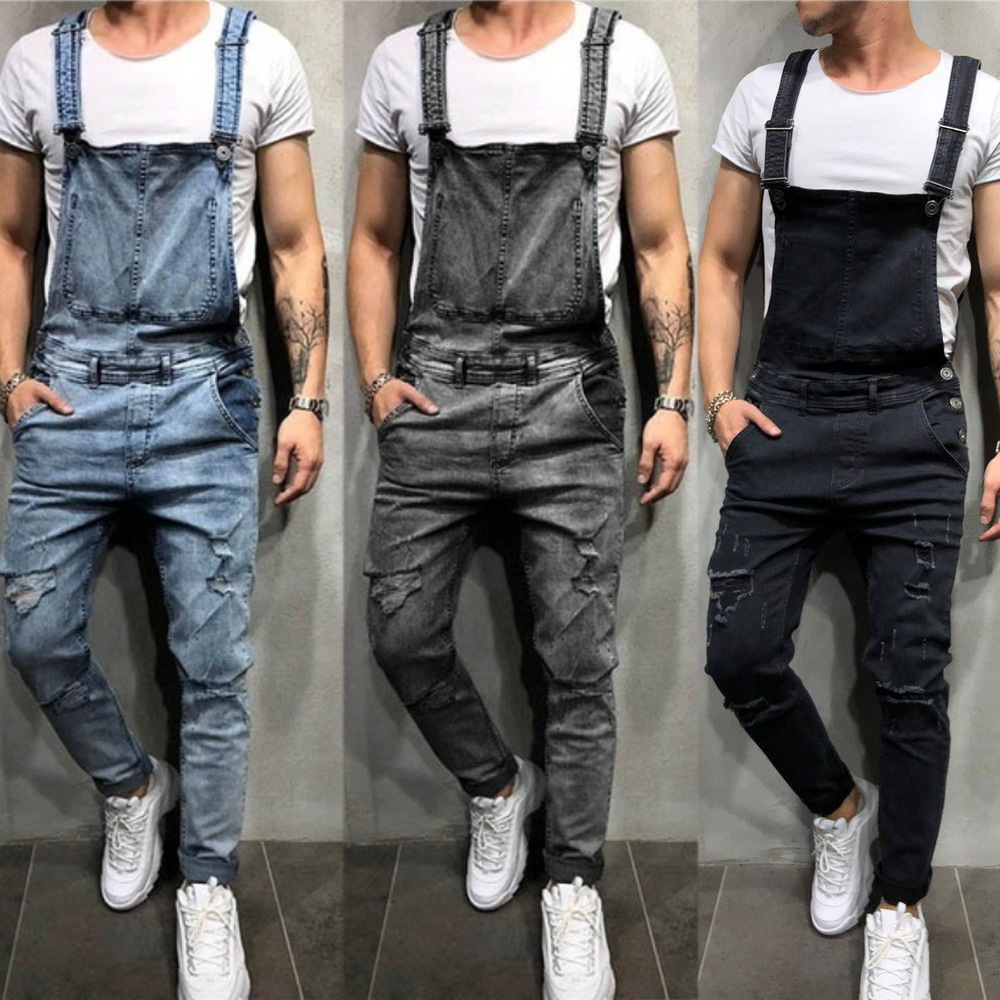 Fashion Men's Suspenders Denim Panties Tear Jeans Trousers Popular Work Clothes Ripped Jeans For Men