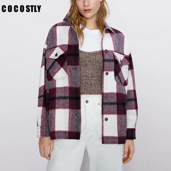 2020 Autumn Women Plaid Wool Blouse Gothic Checked Oversized Woolen Shirt Thick Ladies Vintage Chic Top Blusas