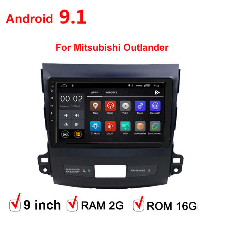 9 Inch Android 9.1 2 DIN Mobil Multimedia Stereo Dvd Player untuk Mitsubishi Outlander 2006 2007 2008-2010 2011 navigasi GPS Radio