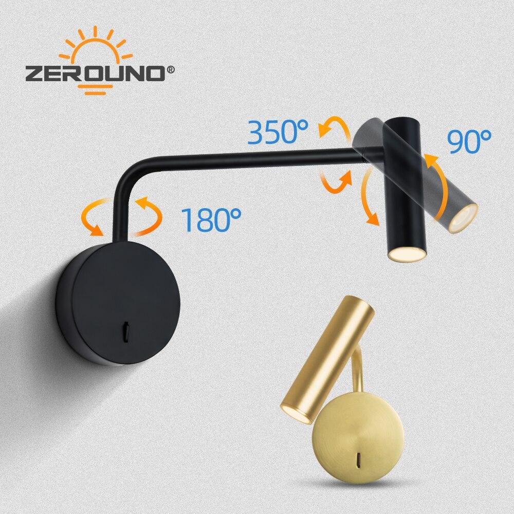 Image 3 - ZEROUNO домашний современный декор, настенный светильник для спальни, поворотный кронштейн с переключателем, светодиодный 3W светильник для чтения, ночной Светильник для прикроватной тумбы, для внутреннего интерьера-in Светодиодные комнатные настенные лампы from Лампы и освещение