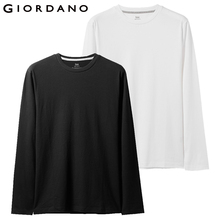 Giordano Men T Shirt 2-Pack Long Sleeve Solid Tee Homme 100% Cotton Pack of 2 Camiseta Masculina Multi Color T-Shirt
