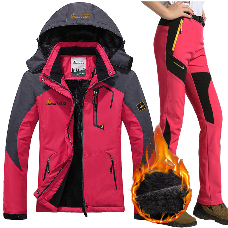 Waterproof Ski Suit Women Ski Jackets Pants Female Winter Outdoor Mountain Skiing Snow Snowboard Inner Fleece Warm Jackets Pants