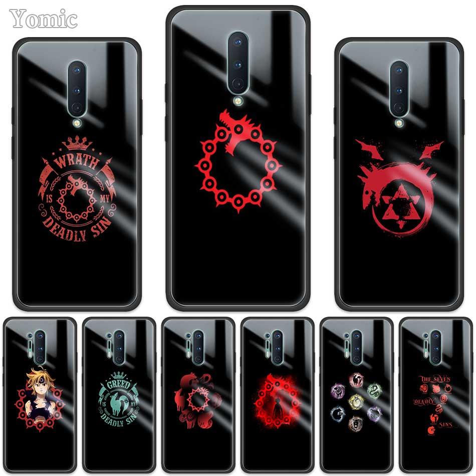 Coque de téléphone en verre trempé pour OnePlus Z 7 8 Nord 7T Pro 5G protection de bord souple noir sept péchés capitaux Style pour Oneplus8Pro
