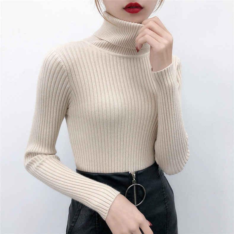 2019 ฤดูใบไม้ร่วงฤดูหนาวผู้หญิงถักเสื้อกันหนาวสบายๆโปโลคอจัมเปอร์แฟชั่น Slim Femme ความยืดหยุ่น Pullovers NS9096