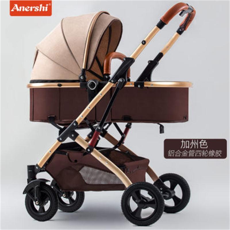 6.9kg Light Stroller High Landscape Baby Stroller 2 In 1 Newborn Carriage Folding Seated Shock-absorbing Portable Baby Pram Gift