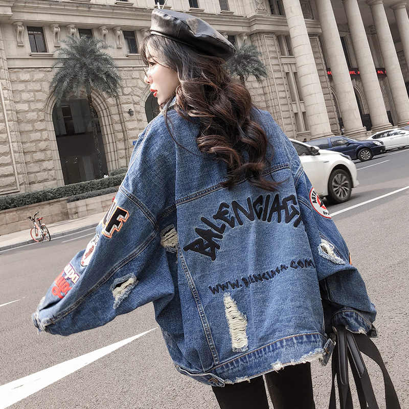 With Holes Cowboy Jacket Women's Loose-Fit Students Mid-length Cowboy Clothing College Style BF Jeans Coat Women's