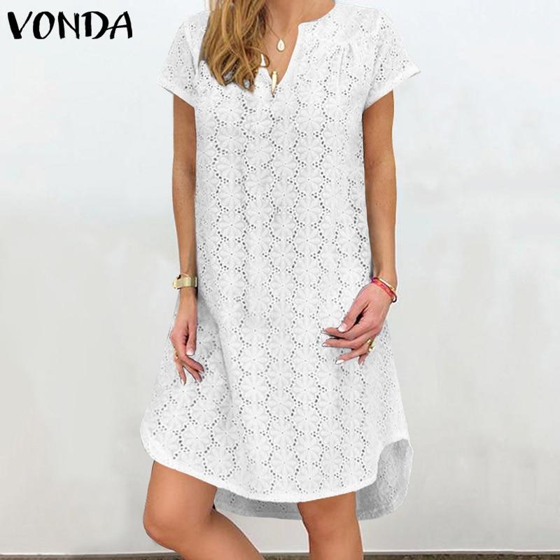 VONDA Summer Solid Dress Sexy Hollow Lace Party Mini Dress Women Bohemian Sundress 2020 Casual Asymmetrical Vestidos Plus Size