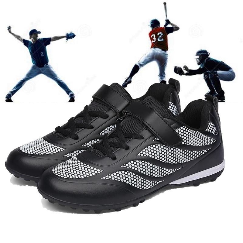 Boys Girls Breathable Baseball Shoes Men Women Spikes Sneaker Non-Slip Outdoor Sport Shoes Baseball Training Shoes Size 30-42