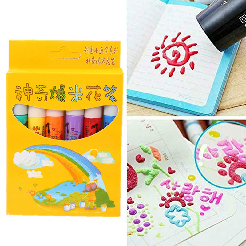 6Pcs Magic Popcorn Pens Puffy 3D Art Safe Pen For Greeting Birthday Cards Kids AS99