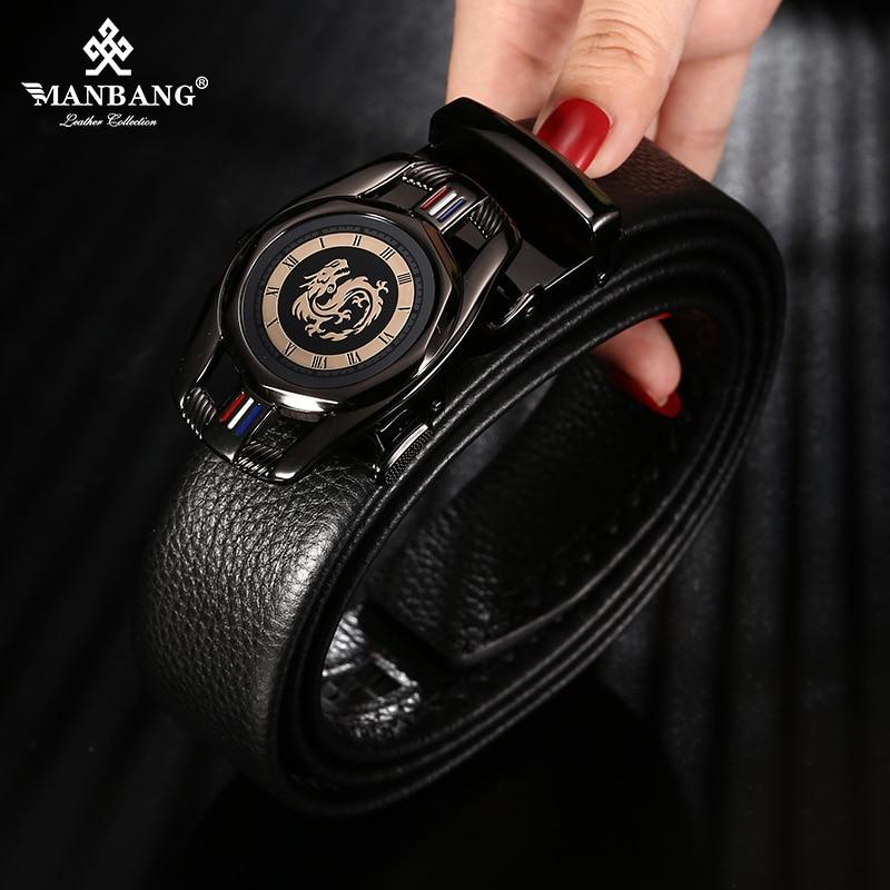 ManBang nowy modny męski pasek skóra bydlęca biznes pasek z automatyczną klamrą skóra bydlęca dla dżinsów mężczyzn projekt wysokiej jakości