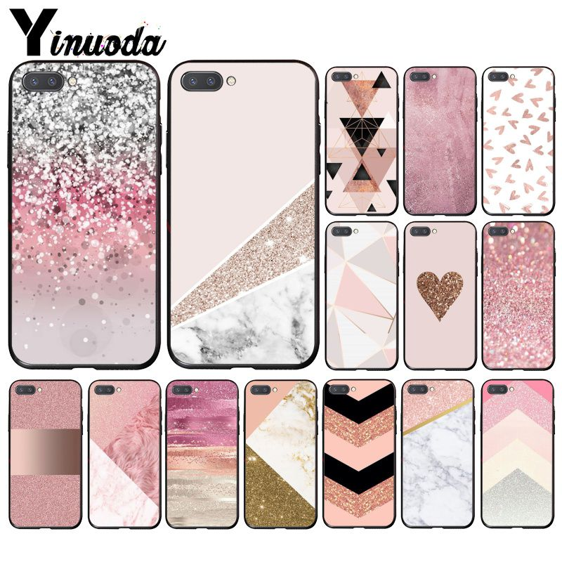 Yinuoda Gold Pink Glitter Marble Phone Case For Huawei Honor 8X 9 10 20 Lite 7A 5A 7C 10i 20i View20