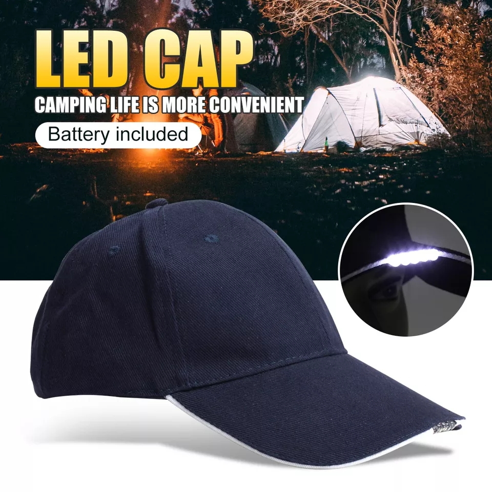 LED Light Baseball Cap Headlight Fashion Lighted Hat Night Headlamp Head Lamp Lantern For Camping Cycling
