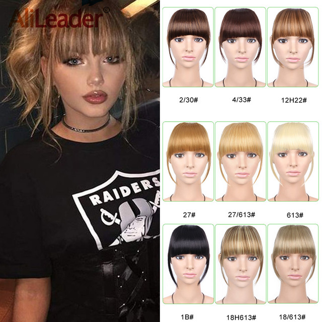 Alileader Short Front Neat Bangs Fake Fringe Clip In Hair Extensions With High Temperature Synthetic Fiber Black Brown Blonde