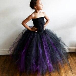 Girls Black Purple Tutu Dress Kids Crochet Corset Evening Dress Long Ball Gown Children Birthday Party Banquet Costume Dresses