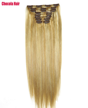 """Chocola Full Head Brazilian Machine Made Remy Hair 10pcs Set 140g 16""""-28"""" Natural Straight Clip In Human Hair Extensions"""