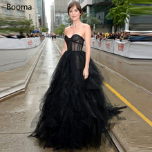Celebrity-Dresses Red Carpet Tulle Illusion Booma Black Long A-Line Sweetheart Ruffles