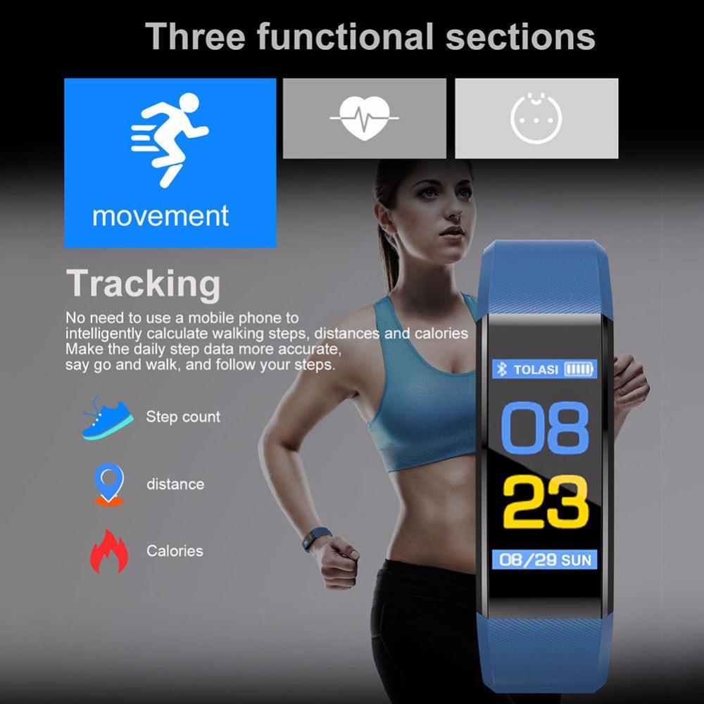 ID115Plus BT4.0 Smart Bracelet Waterproof Wristband Heart Rate Monitor Blood Pressure Measurement Fitness Tracker Smart Band