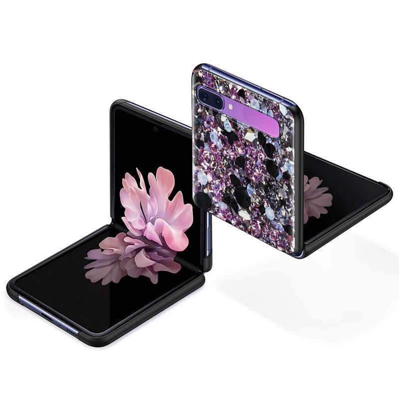 חם יהלום PC Case עבור Samsung Galaxy Z Flip 5G שחור קשיח פלסטיק Carcasa טלפון Coque מתקפל ופיצול אופנה דיור