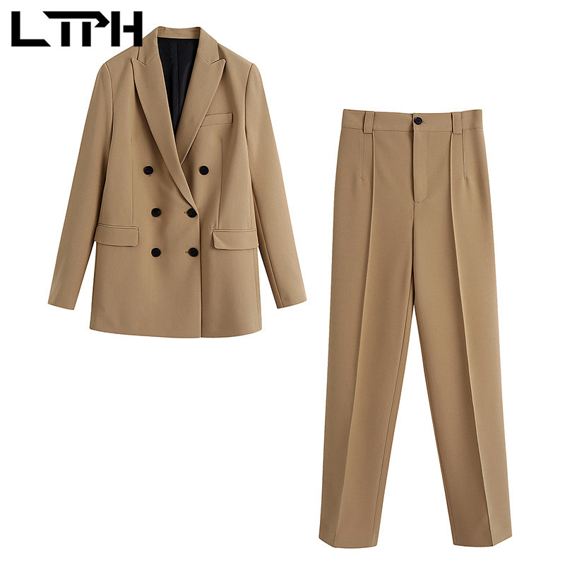 LTPH camel vintage Double Breasted blazer suits casual business 2 piece set women Outfits high waist Pant Sets 2021 Spring New