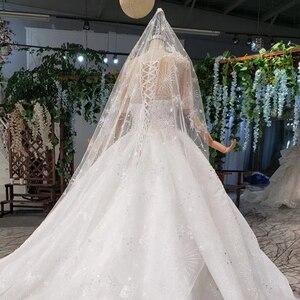 Image 4 - Винтажное свадебное платье HTL966 для невесты, кружевные свадебные платья с коротким рукавом и круглым вырезом, Африканские свадебные платья для женщин 2020 с вуалью, vestido noiva
