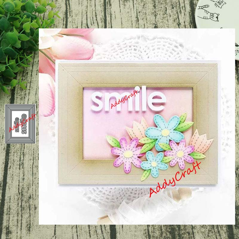 Metal Cutting Dies Smile Frame Cut Die Mold Decoration Scrapbook Paper Craft Knife Mould Blade Punch Stencils Die