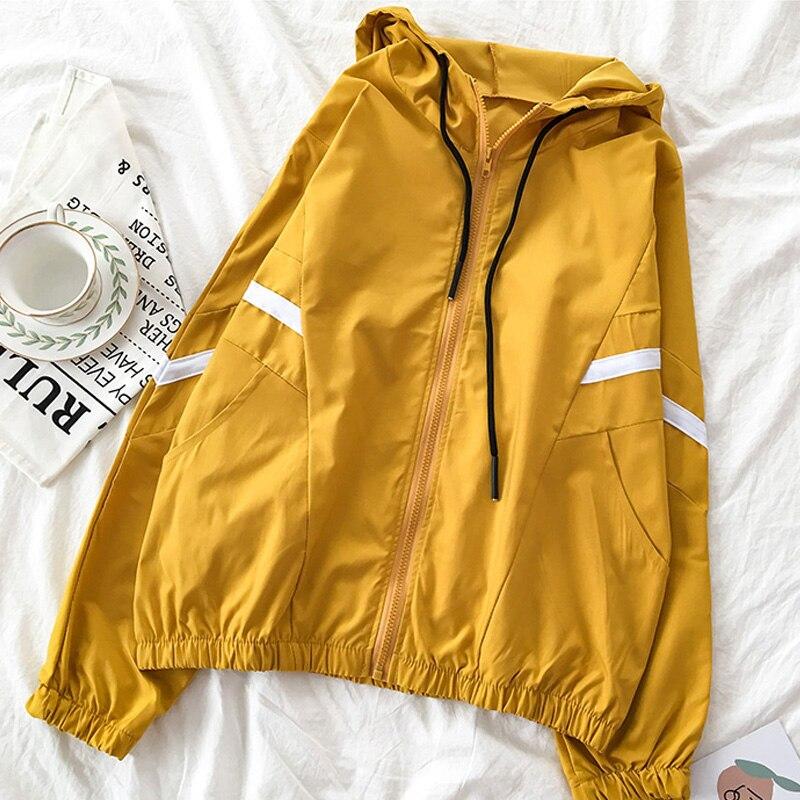 Harajuku Winter Slim Ladies Long Sleeve Kpop Yellow Sexy Splice Zipper Windbreaker Women Jacket Spring Kawaii Fashion Coat Tops
