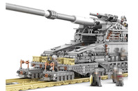 Large scale Cannon E Railway Gun Model Building Blocks WW II Military Heavy Gustav Dora Bricks Toys Christmas Gift of children