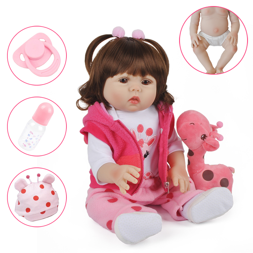 18inch 47cm Full Silicone Reborn Doll Girl Bebe Curly Hair Baby Lifelike Realistic Alive Menino Christmas Gift Bath Toy Children