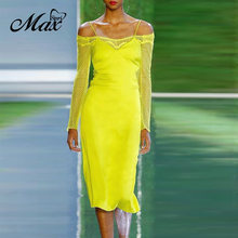 Женское вечернее атласное платье миди max spri желтое ажурное